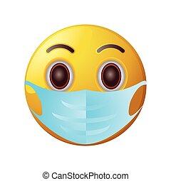 maska, tło, biały, emoticon, medyczny