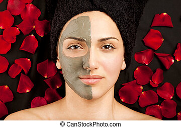 maska, twarzowy, glina