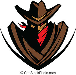 maskotka, barwna chustka, kapelusz, kowboj