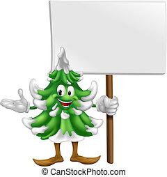 maskotka, drzewo, boże narodzenie, znak