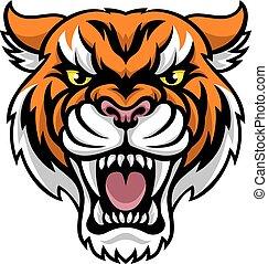 maskotka, gniewny, tiger