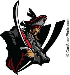 maskotka, kapelusz, gr, miecz, pirat