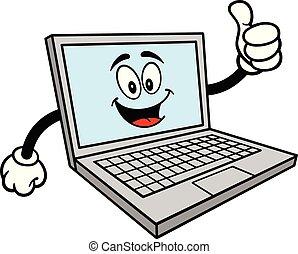 maskotka, komputer, do góry, kciuki