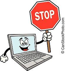 maskotka, komputer, zatrzymajcie znaczą