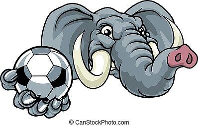 maskotka, lekkoatletyka, piłka nożna, słoń, futbolowa piłka