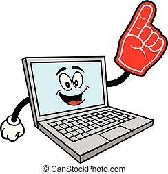 maskotka, piana, komputer, ręka