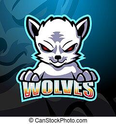 maskotka, wolves, projektować, logo, esport, biały
