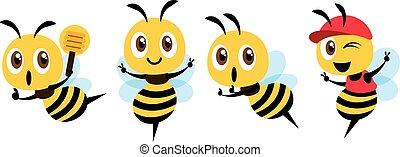 maskotka, znak, cap., design., ilustracja, chochla, wektor, sprytny, płaski, chodząc, pszczoła, miód, komplet, pokaz, rysunek, zwycięstwo, odizolowany, dzierżawa