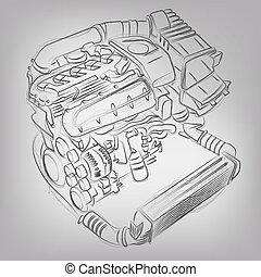 maszyna, abstrakcyjny, wektor, ilustracja, sketched
