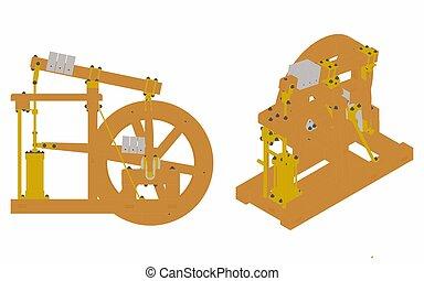 maszyna, barwny, prosty, belka, drewno, oryginał