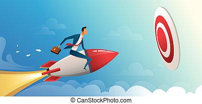 maszyna, handlowy, naprzód, wektor, cielna, rakieta, przelotny, target., ilustracja, pojęcie, biznesmen