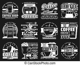maszyna, kubeczki kawy, espresso, łata, filiżanki, fasola