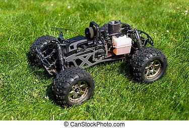 maszyna, reputacja, spalanie, nitro, wóz, jeden, radio-controlled, grass., wewnętrzny, zielony, walec, opał