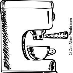 maszyna, rys, espresso, kawa