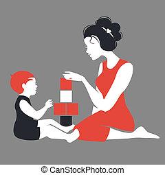 matczyny, sylwetka, interpretacja, piękny, toys., niemowlę, szczęśliwy, dzień, macierz
