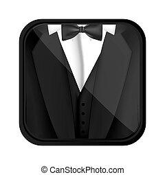 materiał, formalny, ikona, garnitur
