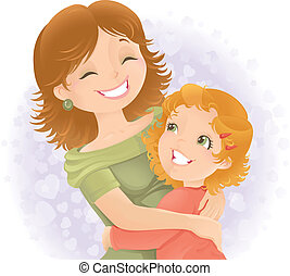 matki, illustration., powitanie, dzień