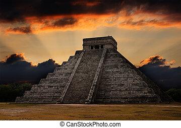 mayan, chichen-itza, piramida, meksyk