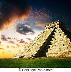 mayan, piramida, itza, chichen