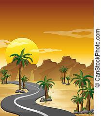meandrowa droga, pustynia, długi