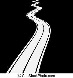 meandrowy, asfalt droga, ilustracja, wektor