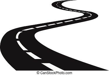 meandrowy, highway., road., podróż, handel, droga, perspective., łukowaty, horyzont