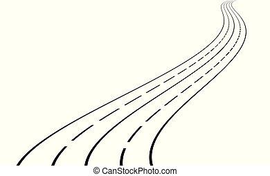 meandrowy, wektor, road., ilustracja
