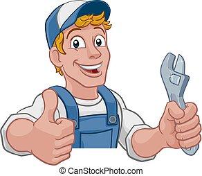 mechanik, instalator, szarpnąć, klucz do nakrętek, majster do wszystkiego, rysunek
