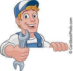 mechanik, szarpnąć, majster do wszystkiego, rysunek, klucz do nakrętek, instalator