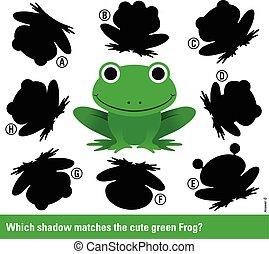 mecze, cień, zielony, rysunek, żaba