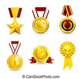 medal, 10eps, komplet, złoty