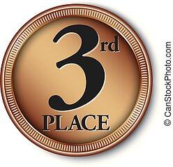 medal, 3rd, ilustracja, wektor, miejsce, brąz
