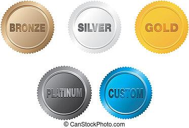 medal, komplet, odznaka