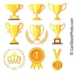 medal, mistrz, filiżanka, zwycięzca, złoty, powodzenie