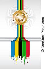 medal, olimpijski, chorągiew, igrzyska, złoty
