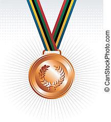 medal, wstążki, brąz, tło