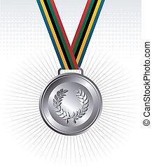 medal, wstążki, srebro, tło