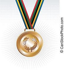 medal, wstążki, złoty, tło