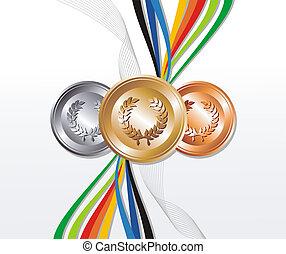 medal, złoty, tło, wstążki, srebro, brąz