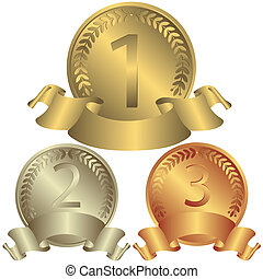 medals, srebro, brąz, (vector), złoty