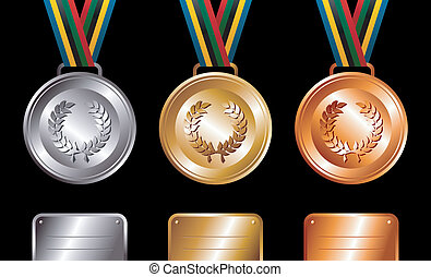 medals, srebro, tło, brąz, złoty