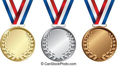 medals, trzy, złoty, zwycięzcy, srebro, brąz