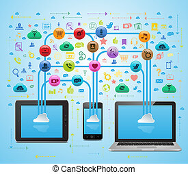media, app, sync, chmura, towarzyski