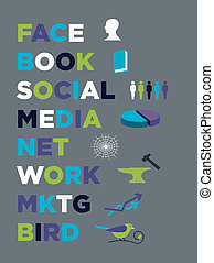 media, handel, książka, twarz, towarzyski