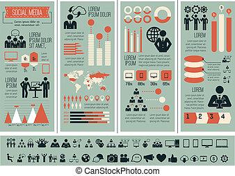 media, infographic, template., towarzyski