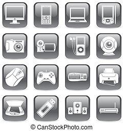 media, komputer, icons.