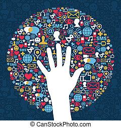 media, sieć, handlowy, towarzyski