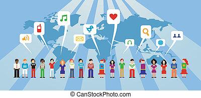 media, sieć, towarzyski
