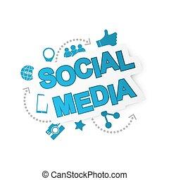 media, tło, sieć, icons., towarzyski