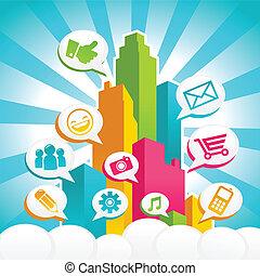 media, towarzyski, barwny, miasto